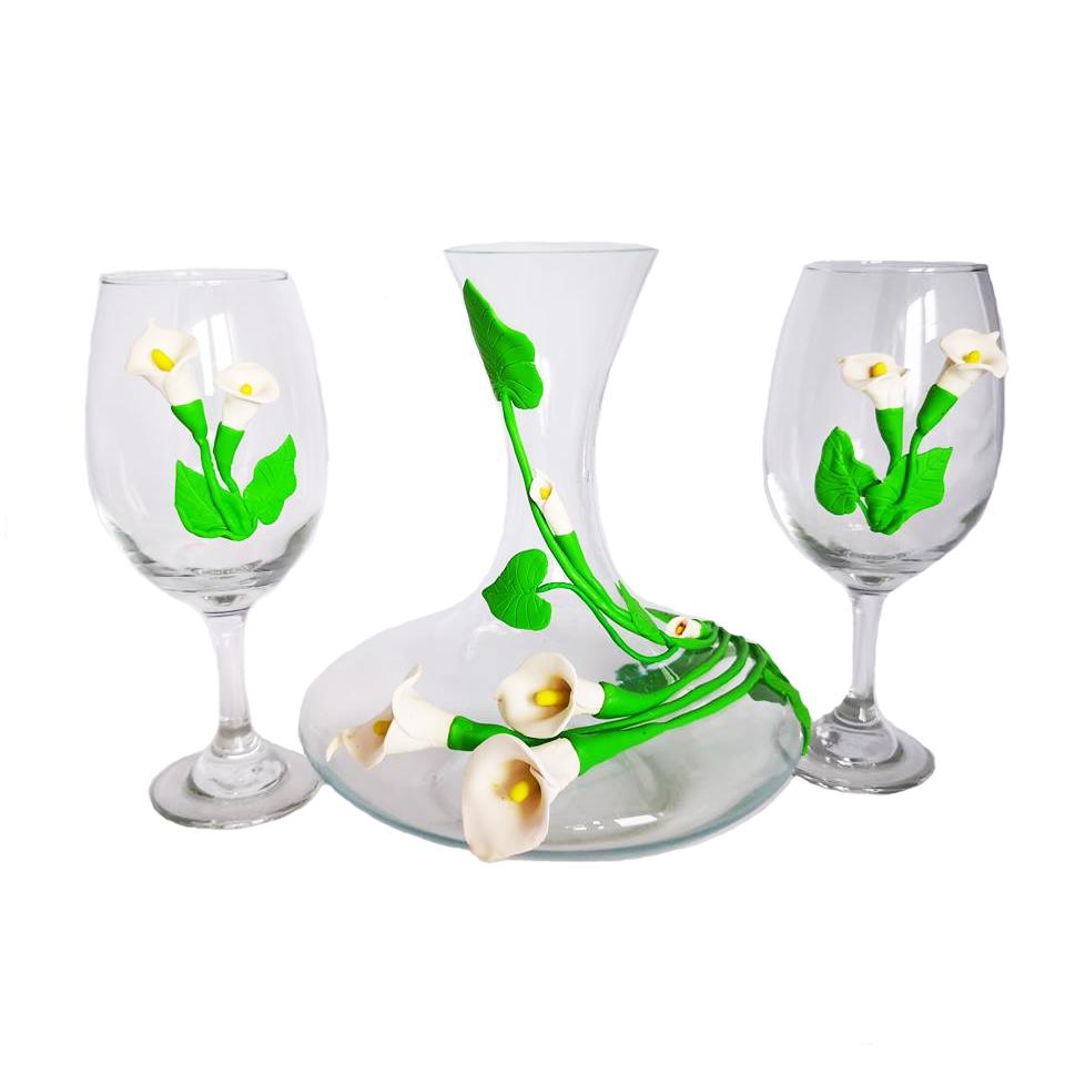 Луксозна гарафа с две чаши, Калии, Ръчна украса от полимерна глина