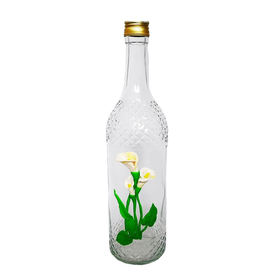 Стъклена бутилка, Калии, Ръчна украса от полимерна глина