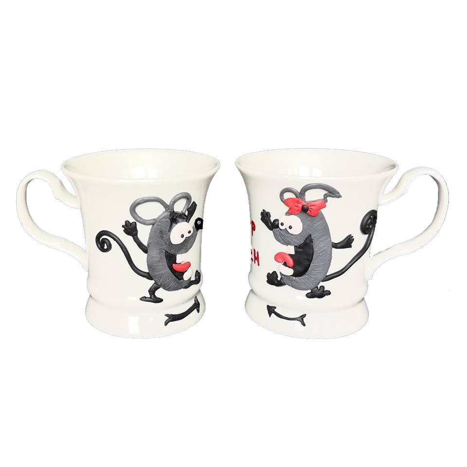"""Ръчно украсени чаши с полимерна глина """"Мишки - Аз и Ти"""""""