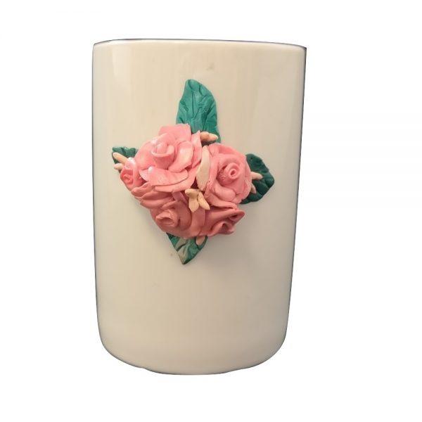Ръчно украсенa чашa с полимерна глина, Рози #5