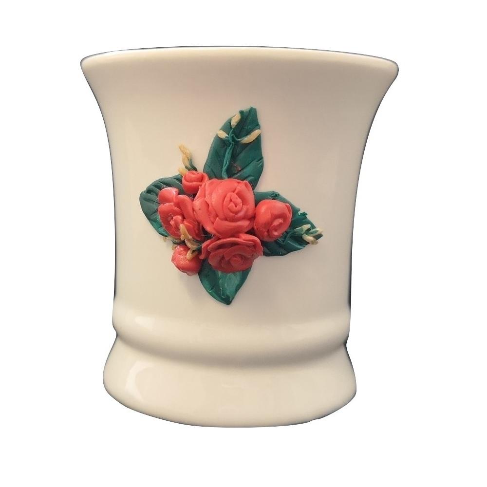 Ръчно украсенa чашa с полимерна глина, Рози #4