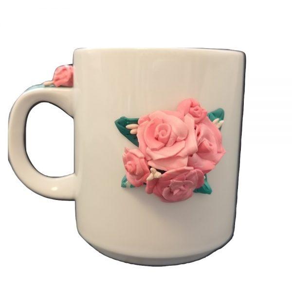 Ръчно украсенa чашa с полимерна глина, Рози #3