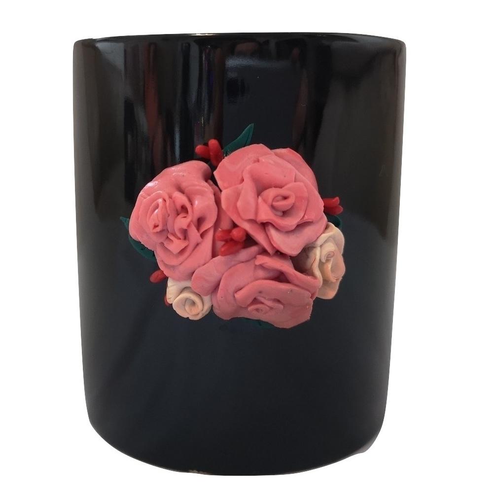 Ръчно украсенa чашa с полимерна глина, Рози #1